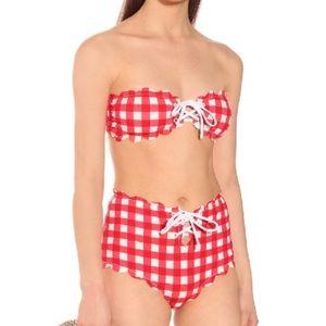 Marysia Bikini Top Red Scalloped Antibes Gingham L